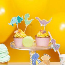 TOPPERY na tort i muffinki 6szt DINOZAURY