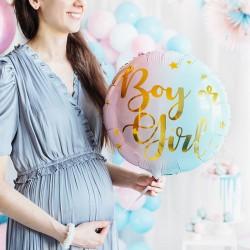BALON na Baby Shower foliowy Boy or Girl pastelowy 35cm