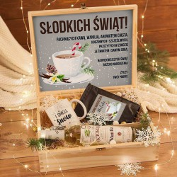 ZESTAW świąteczny w skrzyni Premium z kawą Sernik i wanilia Z TWOIM NADRUKIEM