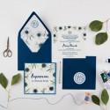 ZAPROSZENIE komunijne personalizowane Granatowe Anemony (+koperta z wnętrzem+naklejka)