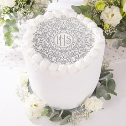 OPŁATEK uniwersalny na tort Srebrna Hostia DUŻA Ø20cm (30)