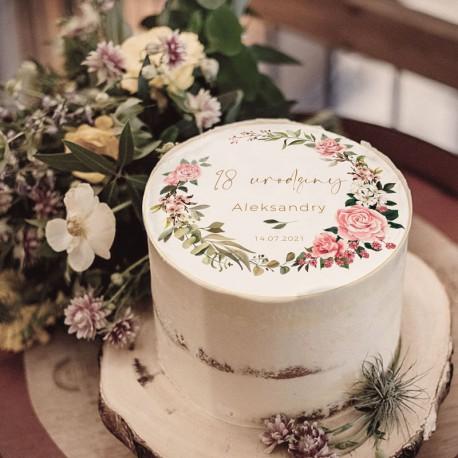 OPŁATEK na tort na 18 urodziny Z IMIENIEM Rustykalny Wianuszek Ø20cm