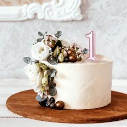 ŚWIECZKA na tort cyfra 1 ROCZEK ROSEGOLD 10cm