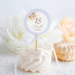 PIKERY do muffinek na 18 urodziny Pampas Boho Z IMIENIEM 10szt (+naklejki)