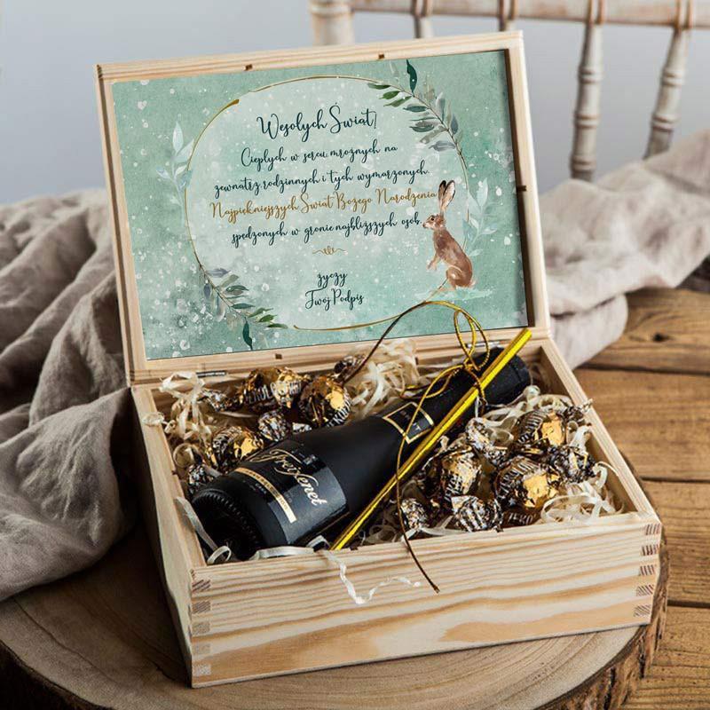 Drewniana skrzynia z winem na prezent Świąteczny