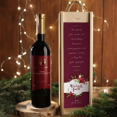 WINO W SKRZYNI 750ml z czarnej porzeczki EKO na prezent firmowy w drewnianej skrzyni Eleganckie Święta Z LOGO