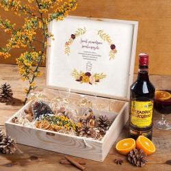 ZESTAW świąteczny firmowy w skrzyni prezent Rozgrzewający Z LOGO