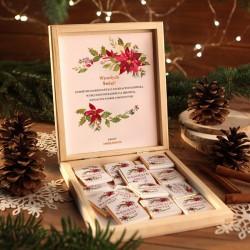 CZEKOLADKI na prezent w drewnianym pudełku Świąteczne Słodkości Z IMIENIEM 12 sztuk