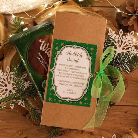 PUDEŁKO na czekoladę prezent firmowy kraft Zielone Święta (+wstążka)