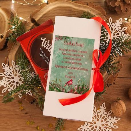 PUDEŁKO na czekoladę prezent firmowy Zimowy Ptaszek (+wstążka)
