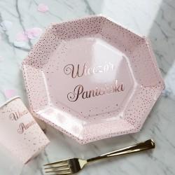 TALERZYKI na panieński różowe Wieczór Panieński heksagon 6szt