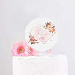 TOPPER na tort panieński Rosegold Flowers + IMIĘ