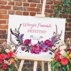 PLAKAT na panieński Kwiaty Boho Z IMIENIEM 50x70