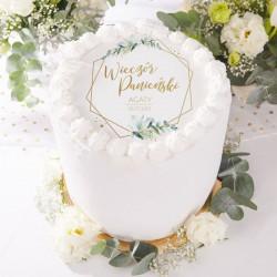OPŁATEK na tort Botaniczny Panieński Z IMIENIEM Ø20cm