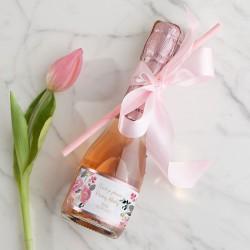 WINO MUSUJĄCE Premium Z IMIENIEM 200ml Różowe Kwiaty ZE SŁOMKĄ