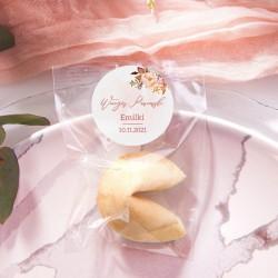 CIASTECZKO z wróżbą Rosegold Flowers (+etykieta)