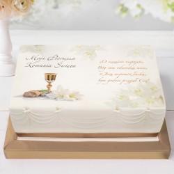 OPŁATEK personalizowany na tort komunijny Lilie 21x30cm