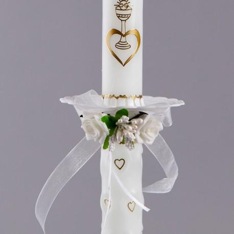 STROIK Z OKAPNIKIEM PLASTIKOWYM na świecę White Roses
