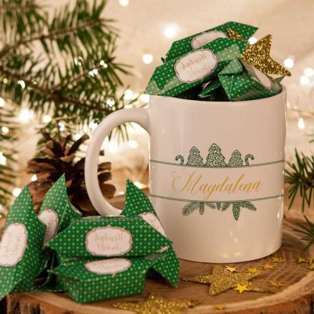 PREZENT świąteczny Kubek+krówki Z IMIENIEM Szyszki
