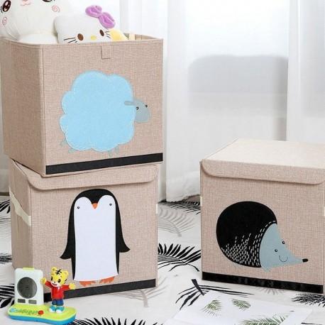 POJEMNIK na zabawki kosz naturalny Pingwinek 33x33cm