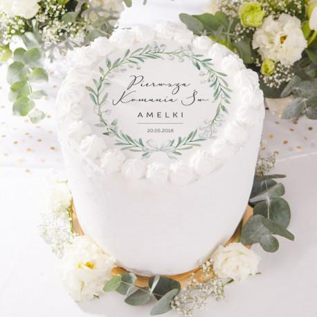 OPŁATEK personalizowany na tort na Komunię Lily of the Valley Ø20cm