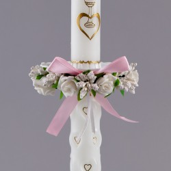 STROIK Z OKAPNIKIEM PLASTIKOWYM na świecę Kwiaty+różowa kokardka