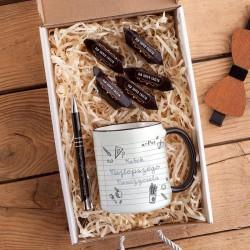 PREZENT dla nauczyciela Z PODPISEM Box z kubkiem i długopisem BIAŁY
