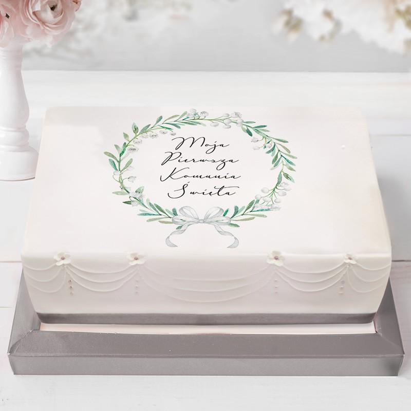 opłatek na tort w minimalistycznym stylu