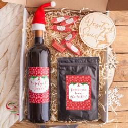 KOSZ prezentowy świąteczny Z PODPISEM Zestaw Czerwony Wino i kawa LUX