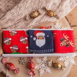 SKARPETY świąteczne w pudełku Z PODPISEM 3 pary