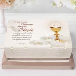 OPŁATEK personalizowany na tort komunijny Storczyk 21x30cm