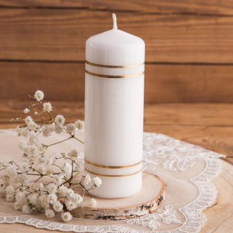ŚWIECA pieńkowa na Chrzest i Komunię Złote Paski 14x5cm