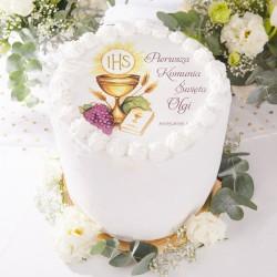 OPŁATEK personalizowany na tort komunijny Złoty Kielich 20cm