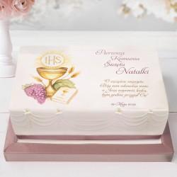 OPŁATEK personalizowany na tort komunijny Złoty Kielich 21x30cm