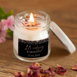 ŚWIECA sojowa na 18,30,40 urodziny podziękowanie Z IMIENIEM Rosegold Black 100% Handmade