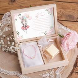PREZENT na Dzień Dziecka w pudełku Króliczek Ballerina Bransoletka Nieskończoność POZŁACANA