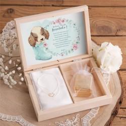 PREZENT dla dziecka w pudełku Uroczy Piesek BRANSOLETKA POZŁACANE SREBRO z sercem BIAŁA