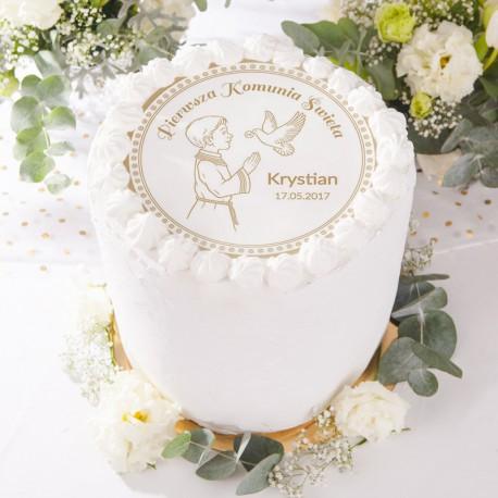 OPŁATEK personalizowany na tort Chłopiec z Hostią Ø20cm