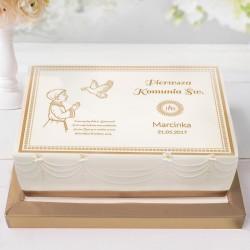 OPŁATEK personalizowany na tort komunijny Chłopiec z Hostią 21x30cm