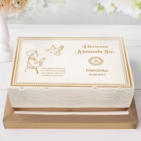 OPŁATEK personalizowany na tort Chłopiec z Hostią 21x30cm