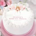 OPŁATEK personalizowany na tort komunijny Z dziewczynką Liliowe Love Ø20cm