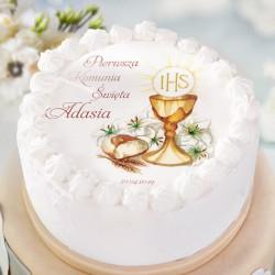 OPŁATEK personalizowany na tort Komunia Św Ø20cm