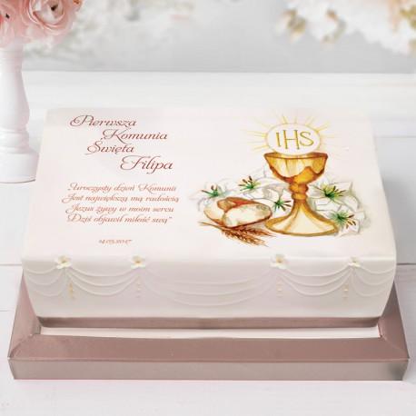 OPŁATEK uniwersalny na tort Komunia Św 21x30cm (26)