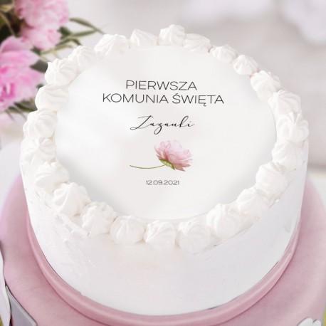 OPŁATEK personalizowany na tort na Komunię Romantyczna Piwonia Ø20cm