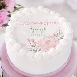 OPŁATEK personalizowany na tort Lovely Peony Ø20cm