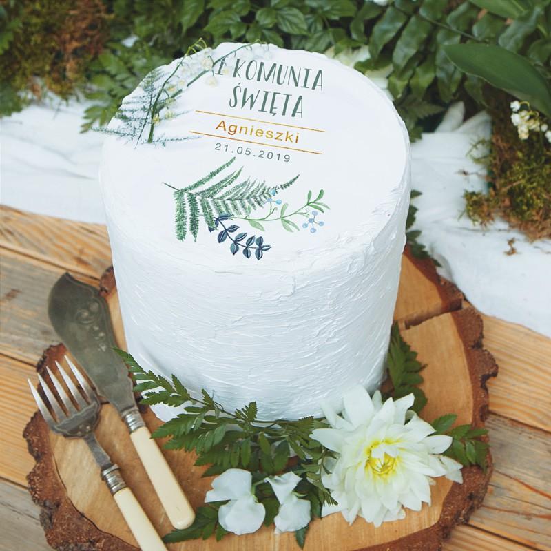 Personalizowany opłatek na tort komunijny