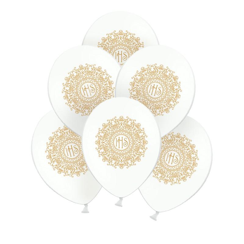 balony komunijne ze złotą hostią