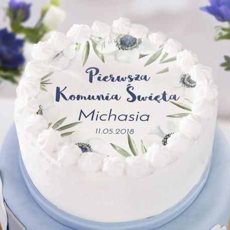 OPŁATEK personalizowany na tort Granatowe Anemony Ø20cm