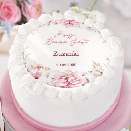 OPŁATEK personalizowany na tort na Komunię Subtelny Róż Ø20cm