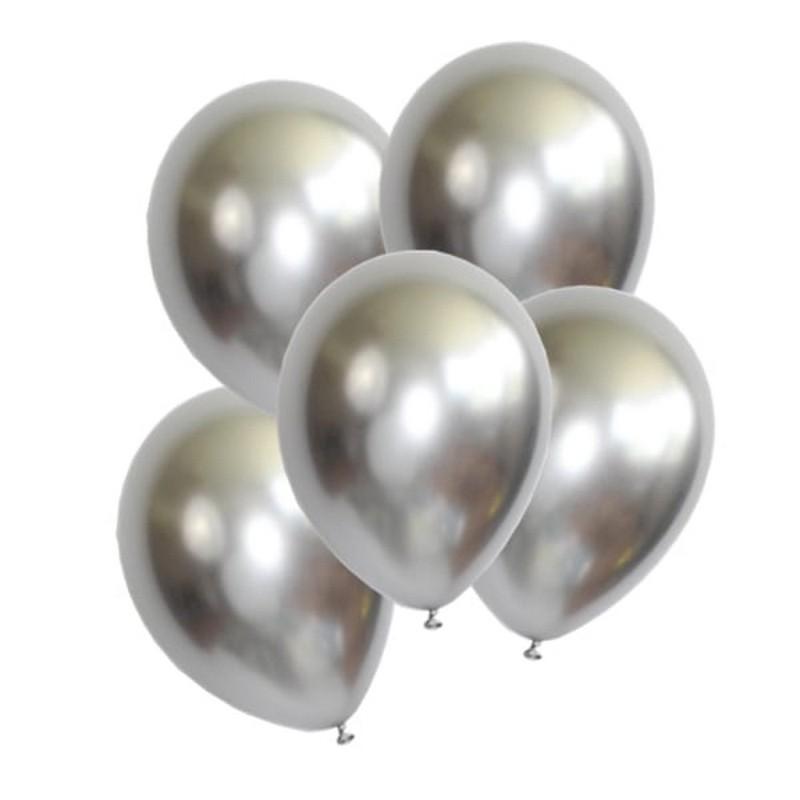 srebrne chromowane balony komunijne